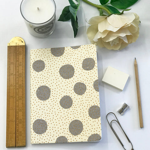 The Bungalow Chavara Gold A5 Notebook. Gold and Grey Small Spots.