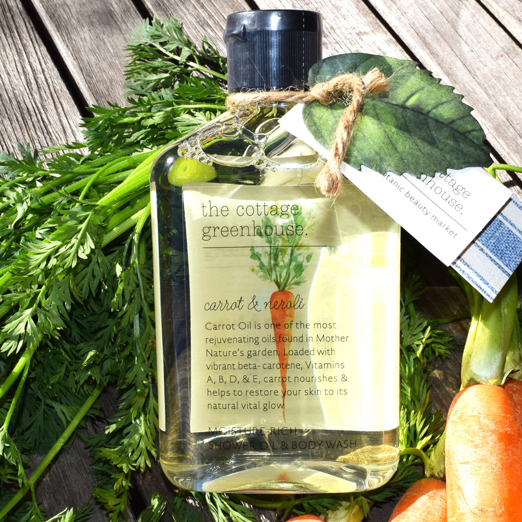 The Cottage Greenhouse Carrot & Neroli Shower Oil & Body Wash.