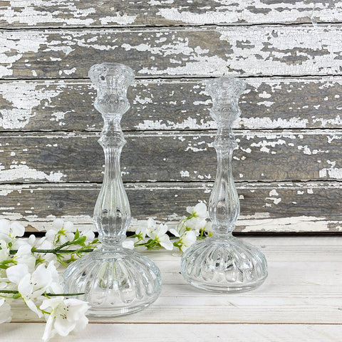Clear Glass Candle Sticks, with dome round base, by Van Verre.
