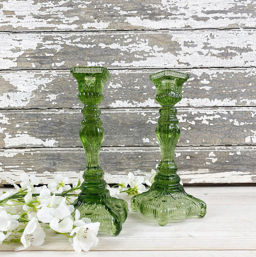 Green Clear Glass Candle Sticks, with square base, by Van Verre.