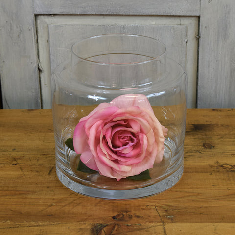 Rasteli Small Barrel Clear Glass Vase