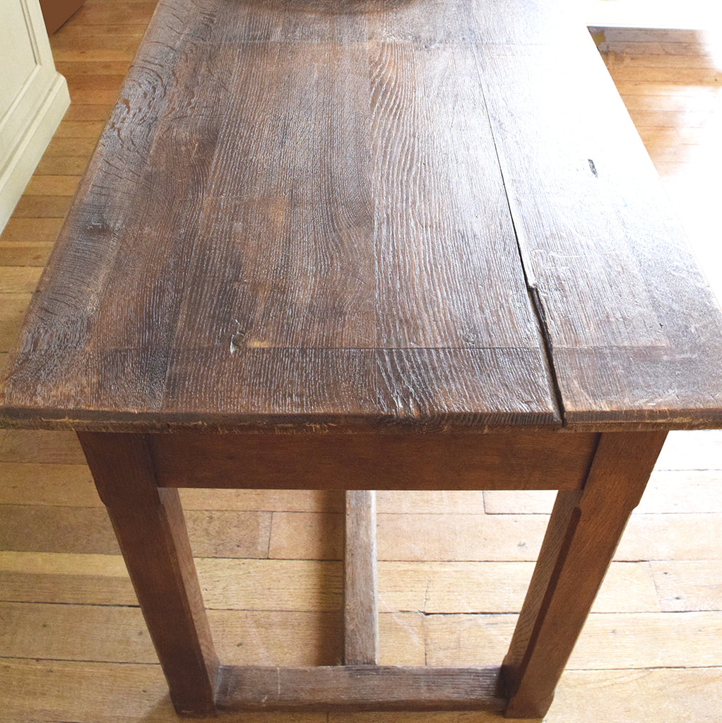 Vintage Wooden Table With Drawers