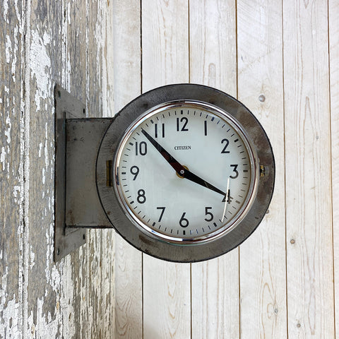 Vintage Double Sided Metal Citizen Clock