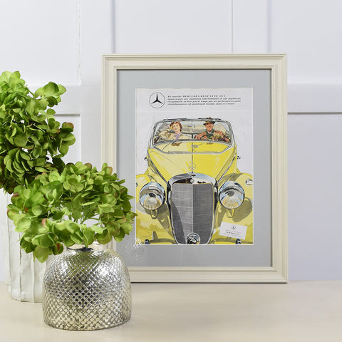 Vintage art print of yellow mercedes