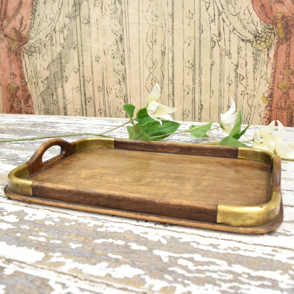 Vintage Wood & Brass Tray.