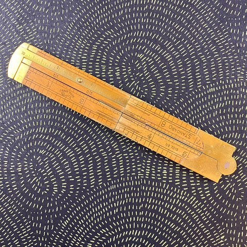 Vintage Wood and Brass Ruler