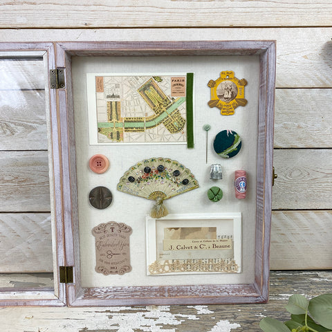 Framed Vintage Collectors Box. Stitching.