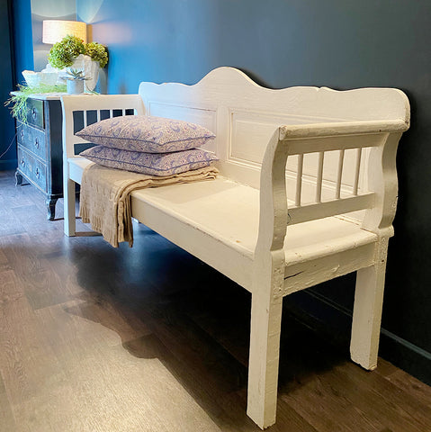 Vintage Painted White Bench