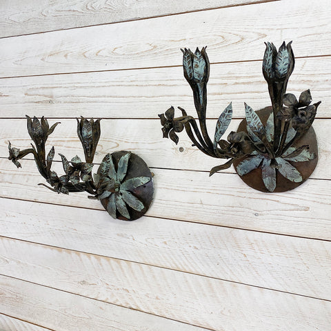 Pair of Vintage Metal Candle Wall Sconces