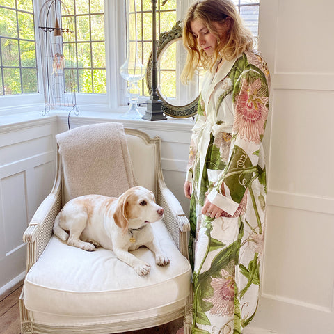 One Hundred Stars KEW Ivory Passion Flower Dressing Gown.