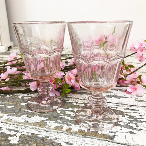 Dusty Rose Vintage Wine Glasses. Set of Six.