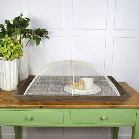 Wooden tray and net/mesh cover
