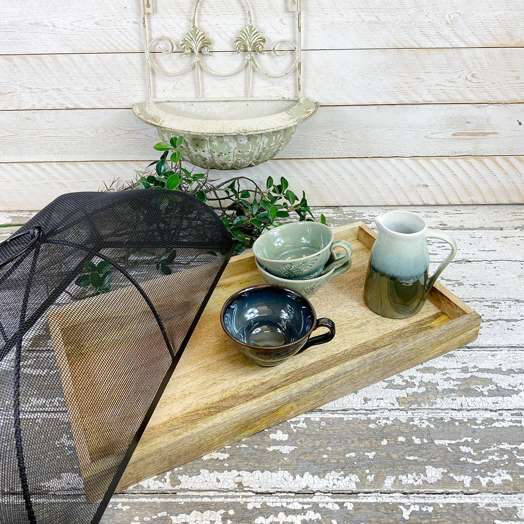 Wooden Tray With Metal Mesh Cloche