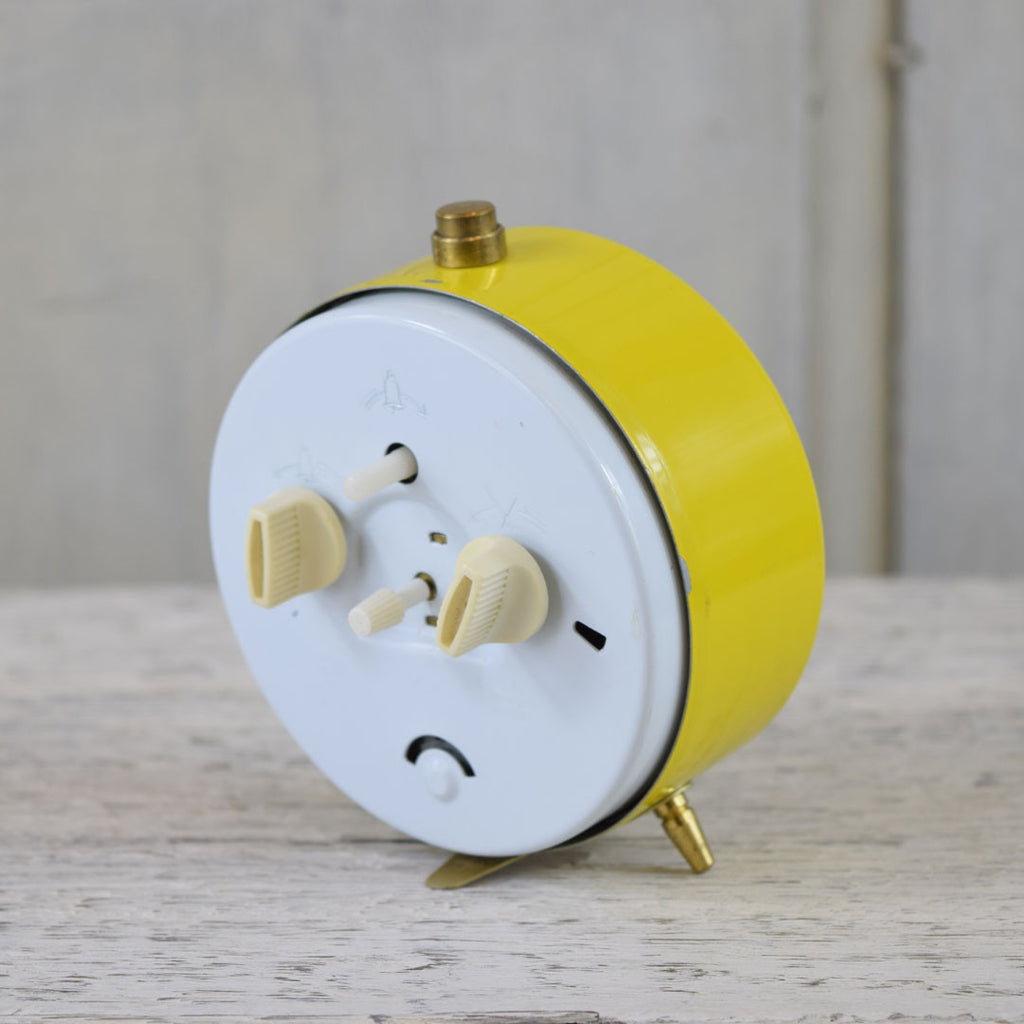 Vintage Jerger Wind Up Alarm Clock. Yellow.