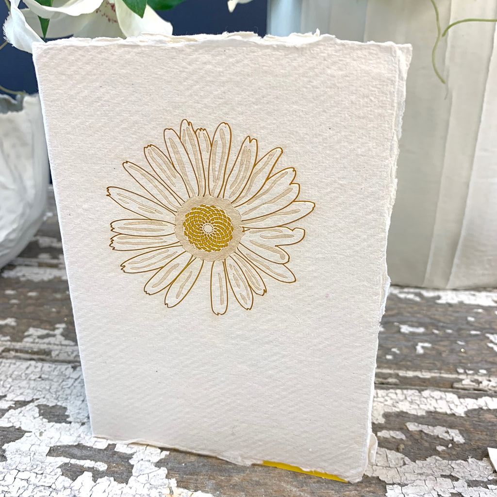 Handmade Eco Laser Cut Card, Yellow Flower.