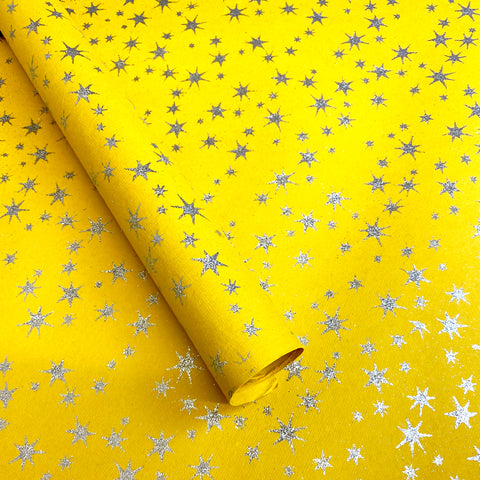 Handmade Wrapping Paper. Yellow Stars.