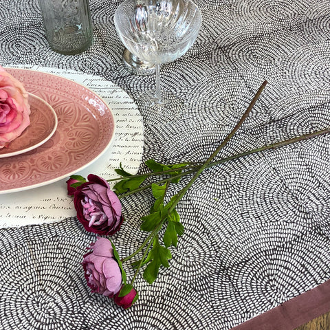 Zen Stone Grey Pink Hem Table Cloth.