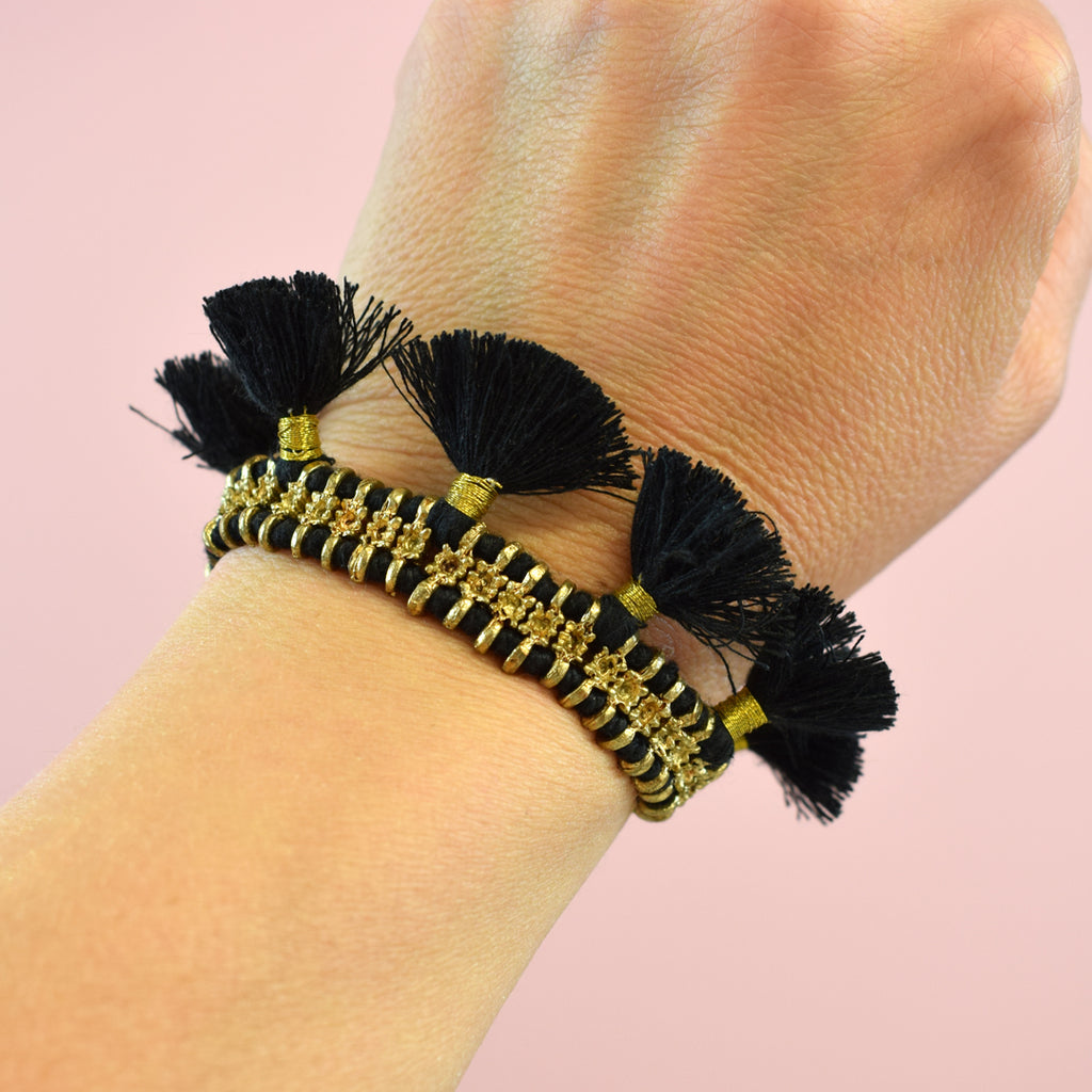Art Deco Black Tassel Gold Bracelet.