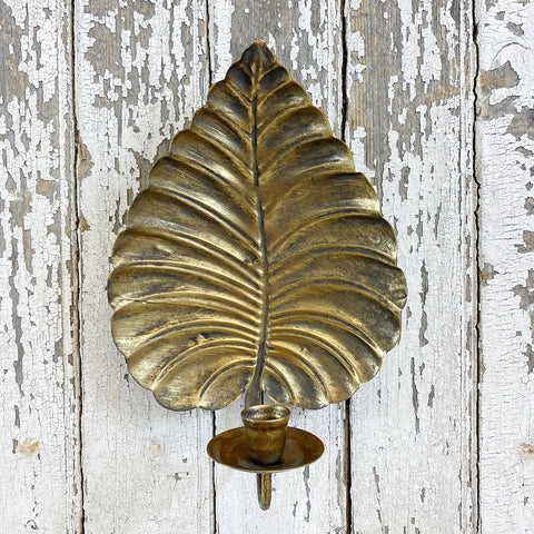 Golden Decorative Leaf Wall Sconce With Candle Holder.