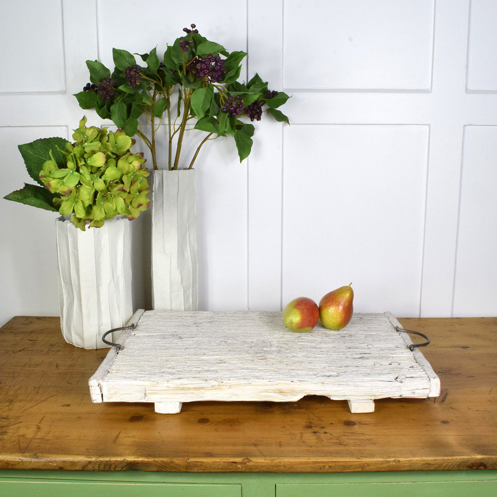Distressed white reclaimed wood tray