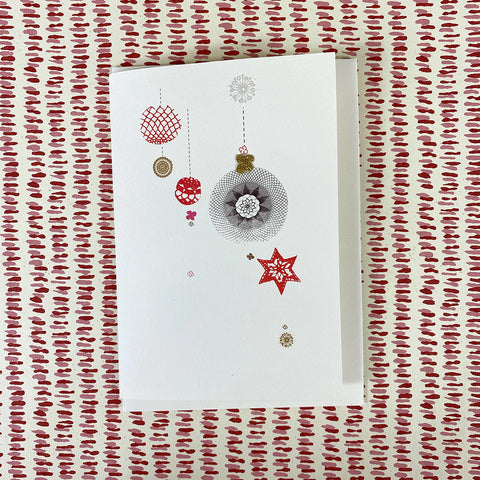 Elena Deshmukh Card, Red Christmas Baubles Christmas Card.