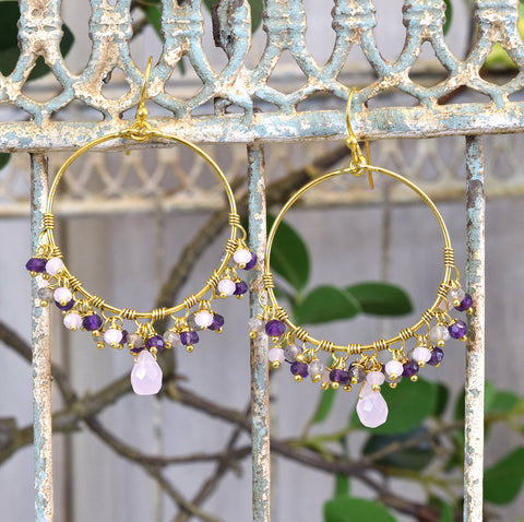 Gold Hoop Jewelled Earrings.