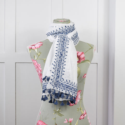 One Hundred Stars White & Blue Moroccan Tassel Scarf.