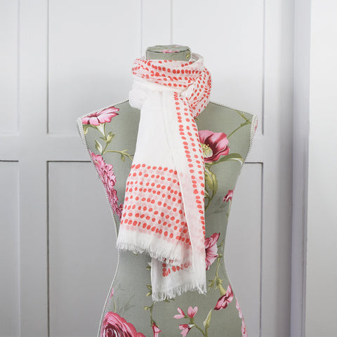 One Hundred Stars White Red Dots Scarf.