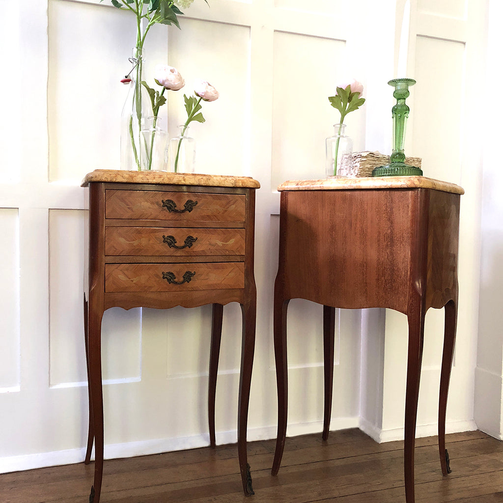 Pair of Vintage French In-laid Bedside Tables with Marble Top