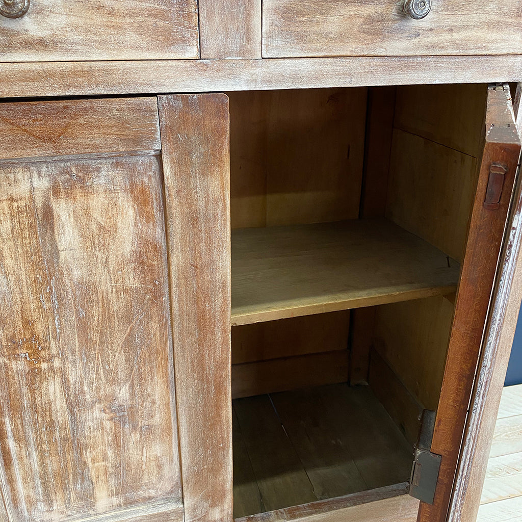 Vintage Limed Cabinet with Drawers and Cupboards
