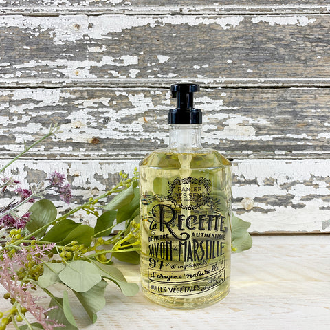 Panier des Sens Collectors Glass Bottle Relaxing Lavender Liquid Soap.
