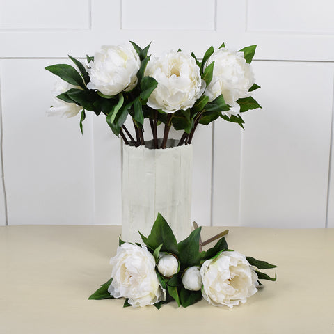 Peony Stem in White, Faux Flower.