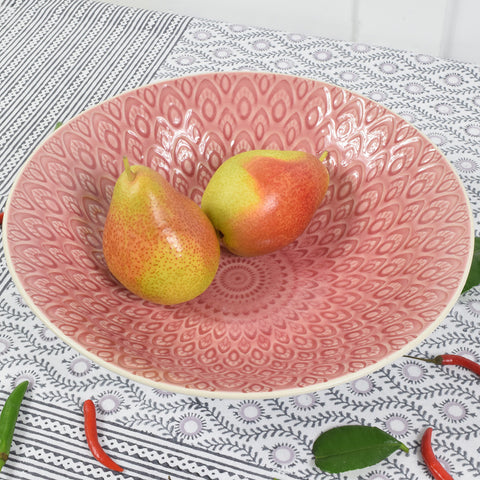 Raspberry pink ceramic fruit bowl