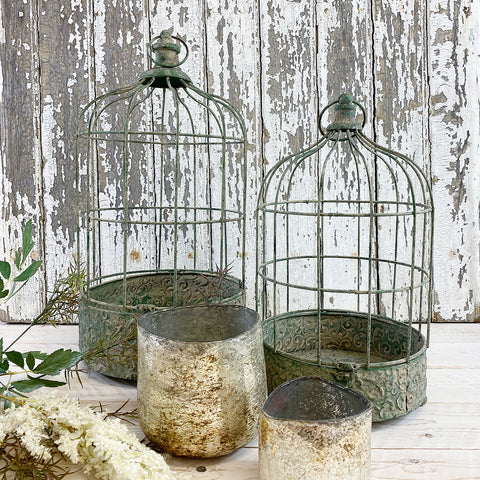 French Vintage Style Metal Circular Birdcage. Small.