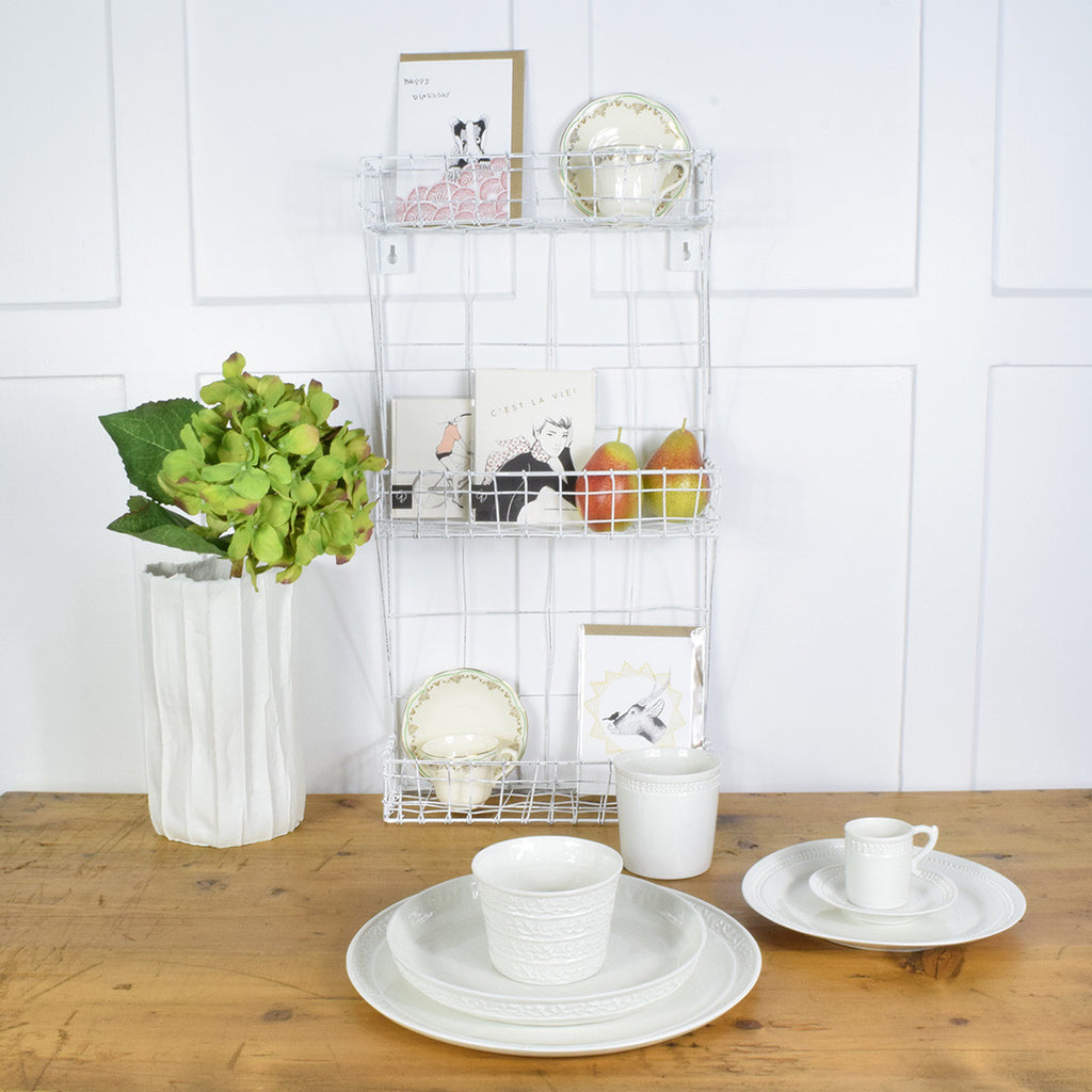 Decorative french country style wire wall shelf – Curated Living