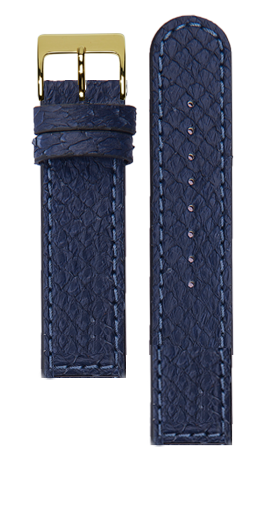 Blue salmon leather strap - Blue stitching - Bespoke