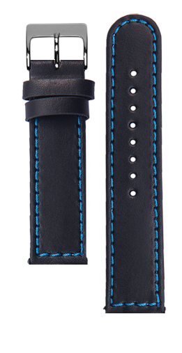 Black calf leather strap - Blue stitching - Bespoke
