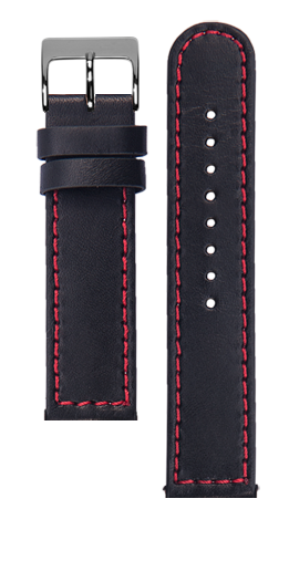 Black calf leather strap - Red stitching - Bespoke