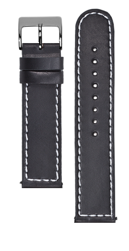 Black calf leather strap - Grey stitching - Bespoke