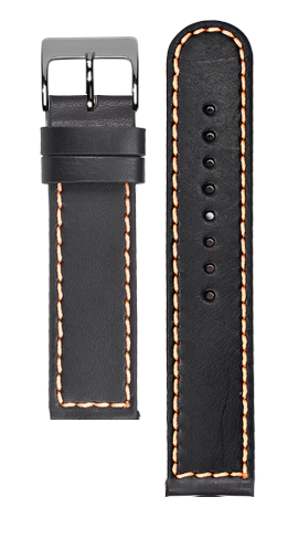 Black calf leather strap - Orange stitching - Bespoke