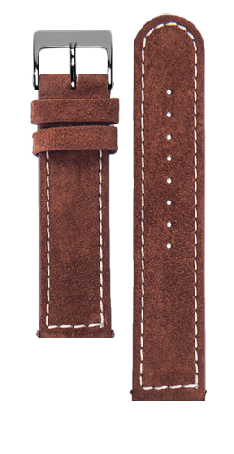 Brown suede strap - Cream stitching - Bespoke