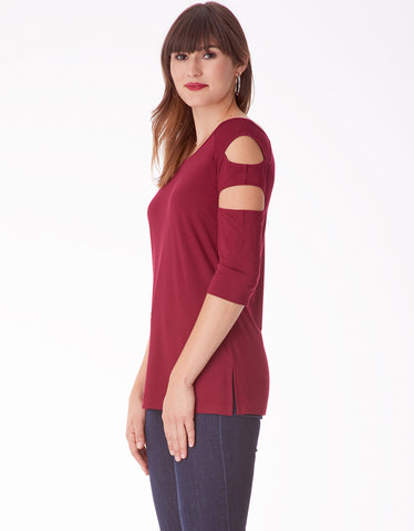 Ladder Cutout Long Sleeve Top