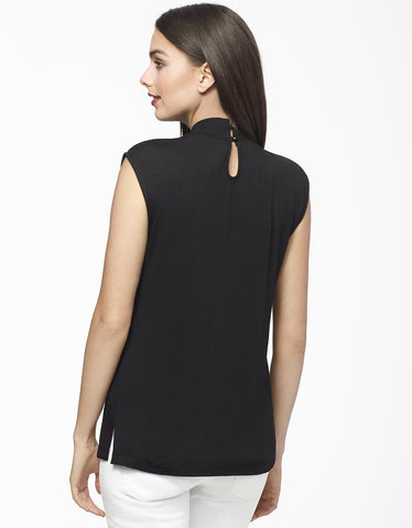 High-Neck Top with Cutouts in Black Back View