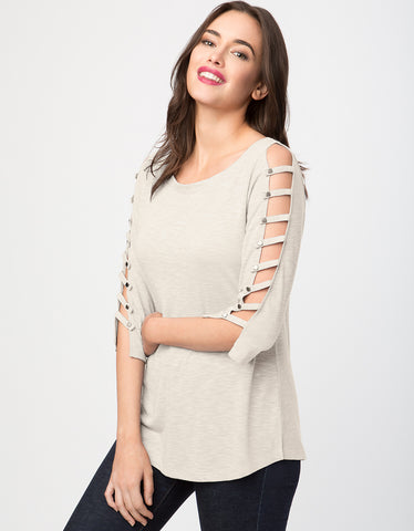 Slub Knit Ladder Sleeve Top