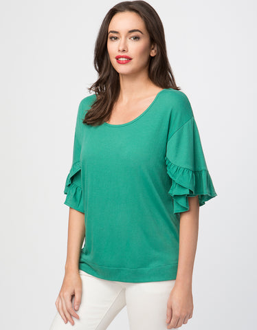 Crinkle Knit Dual Ruffle Sleeve Top