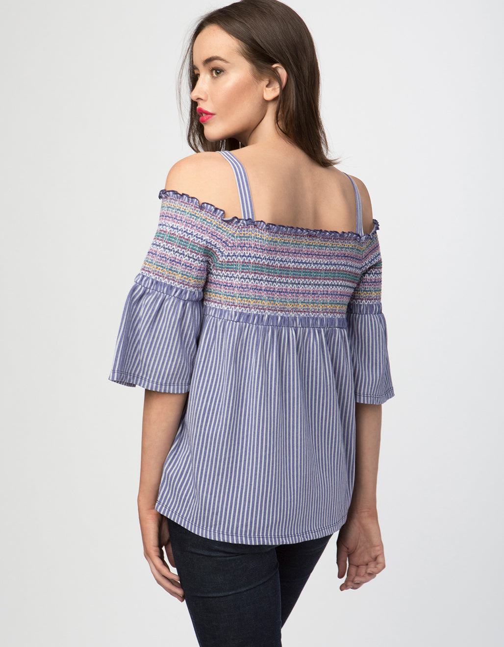 Embroidered Cotton Blend Off The Shoulder Peasant Top