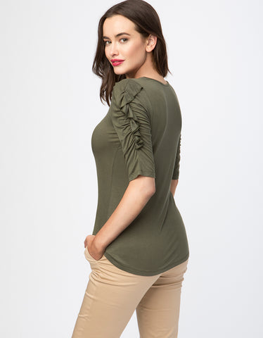 Ruffle ¾ Sleeve Jersey Top
