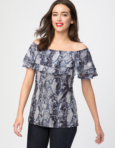 Python Print Ruffle Off The Shoulder Top