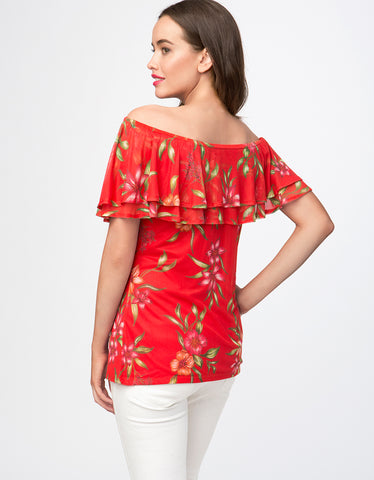 Botanical Garden Print Ruffle Off The Shoulder Top