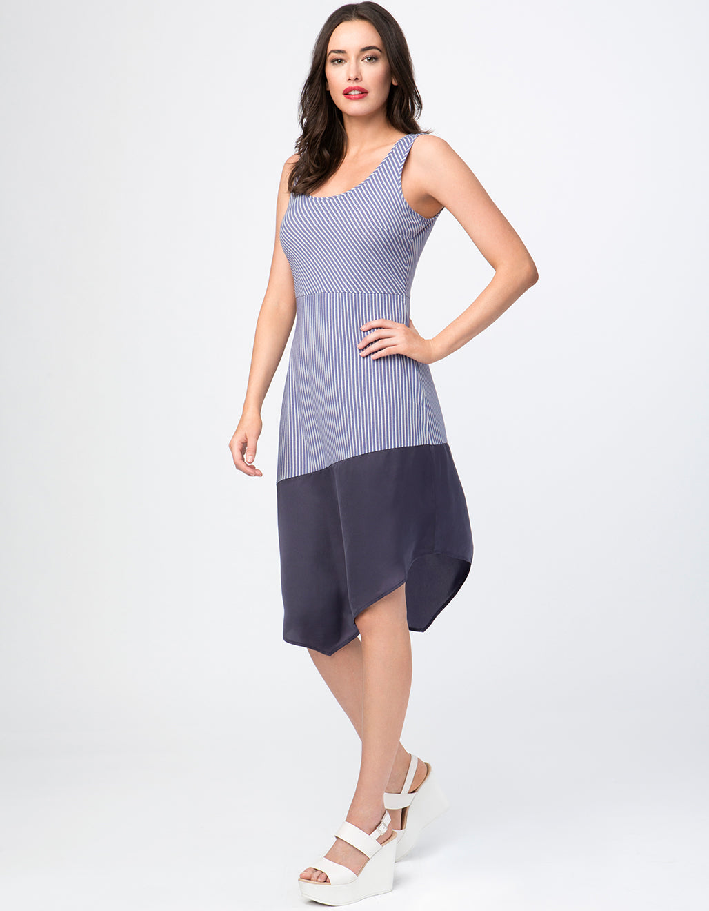 Two-Tone Asymmetrical Hem Sundress
